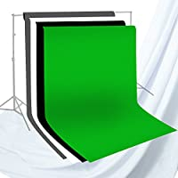 Julius Studio 6 x 9 ft. Photo Studio Chromakey Background Muslin Backdrop Bundle Kit, Black, White, Green, Gray, Premium Quality Fabric Material, Wrinkle Resistant, Photo Video Studio, JSAG227V2