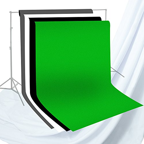 Julius Studio 6 x 9 ft. Photo Studio Chromakey Background Muslin Backdrop Bundle Kit, Black, White, Green, Gray, Premium Quality Fabric Material, Wrinkle Resistant, Photo Video Studio, JSAG227V2 - Studio Muslin