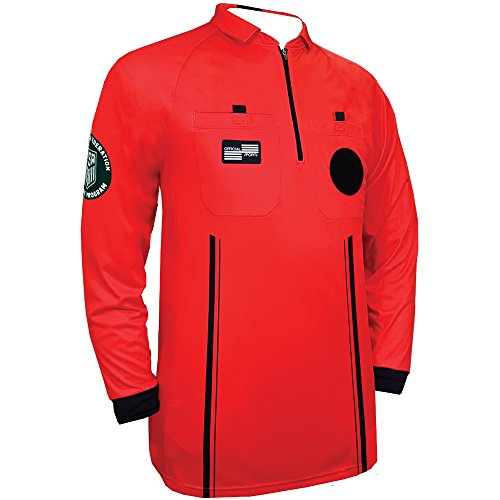 New USSF Pro Men's Soccer Referee Red Long Sleeve Shirt (Large Red)