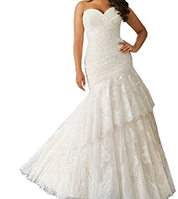 Cecelia's Veil Women's Sweetheart Lace-up Ruching Lace Tiers Mermaid Bridal Gown