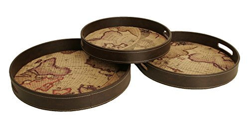 [Wald Imports Brown Wood & Faux Leather  Decorative Map Serving Trays, Set of 3] (Nesting Wood Trays)