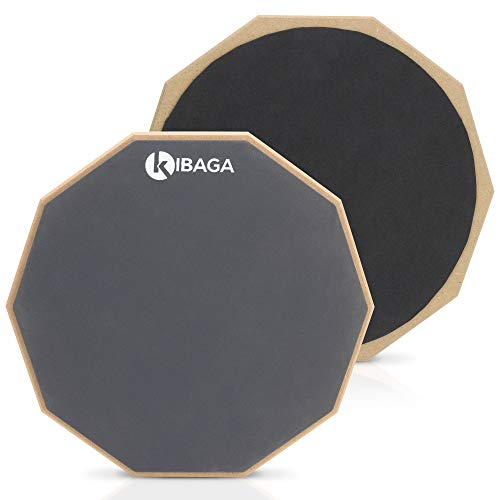 (Double Sided Drum Pad 12 inches - Silent Drum Practice Pad Provides A Great Rebound - Perfect Snare Drum Pad For Quiet Workouts On Snare Drums And On Your Lap)