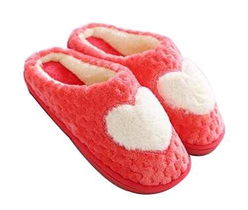 [heart Red] Women Cosy Plush Slippers Winter Slippers Fuzzy Indoor Slippers
