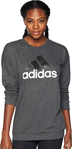 (adidas Women's Badge of Sport Pullover Dark Grey Heather/White Large)