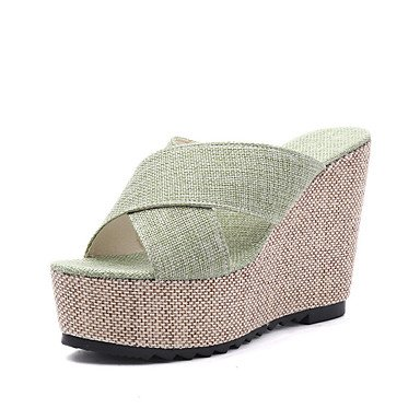 RUGAI-UE Moda de Verano Mujer sandalias casuales zapatos de tacones PU Confort caminar al aire libre,Negro,US7.5 / UE38 / UK5.5 / CN38 Green