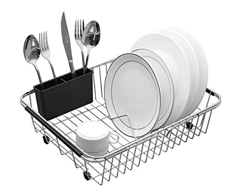 (Expandable Dish Drying Rack, 304 Stainless Steel Over Sink Dish Rack, Dish Drainer in Sink or On Counter with Utensil Drying Rack- Rustproof- Large)