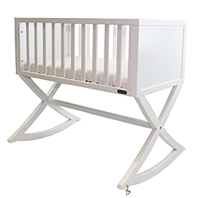 Green Frog, Allegro Cradle | Handcrafted Contemporary Wood Baby Cradle | Premium Pine Construction | Rocking and Stationary | Bright White Color
