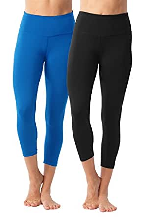 90 Degree By Reflex High Waist Tummy Control Shapewear - Power Flex Capri - Black and Lapis Blue 2 Pack - XS