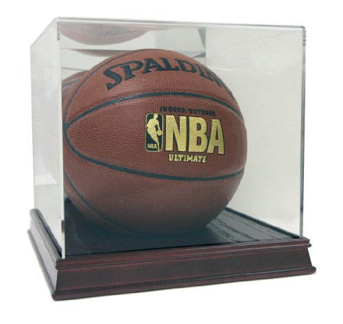 (Deluxe Acrylic Full Size Basketball Display Case with Cherry Wood Stain Base )