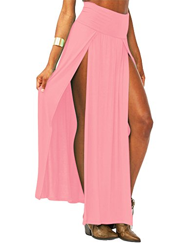 Faldas Larga fiesta Verano Maxi Faldas para mujer Casual falda de Abertura Lateral Pink