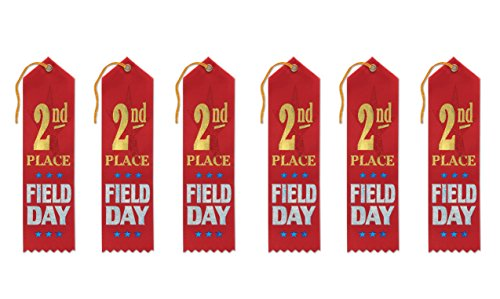 Beistle AR152 2nd Place Field Day Award Ribbons, 2 by 8-Inch, (Field Day Ribbon)