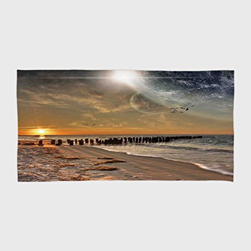 iPrint Cotton Microfiber Hotel SPA Beach Pool Bath Hand Towel,Space,Magical Solar Eclipse on Beach Ocean with Horizon Sun Moon Globe Gulls Flying View,Cream Orange,for Kids, Teens, and Adults by iPrint