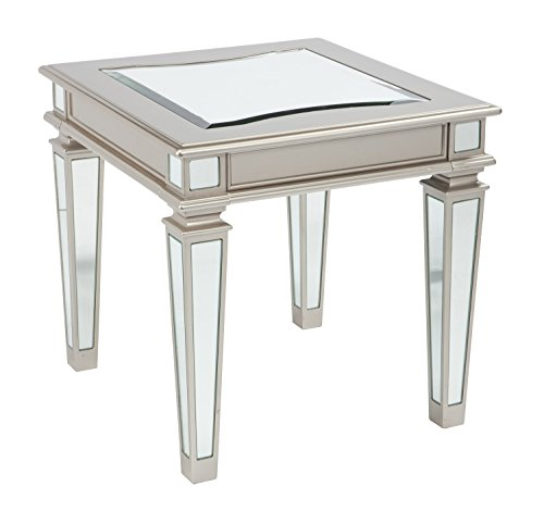 - Ashley Furniture Signature Design - Tessani Contemporary Rectangular End Table - Silver