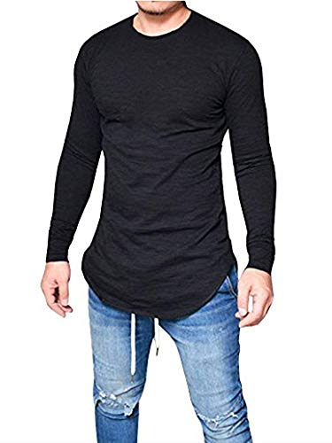 Makkrom Mens Hipster Slim Fit Long Sleeve Stretchy T Shirt Solid Pullover Tops ()