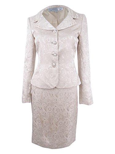 Button Front Suit - Tahari by Arthur S. Levine Women's Missy Jacquard Button Front Skirt Suit, Champagne, 2
