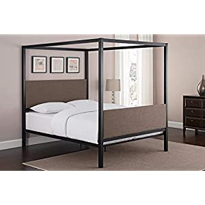 Contemporary Queen Metal Canopy Bed Multiple Colors Sturdy Metal Construction Metal Slat Base No Need for a Box Spring or Foundation