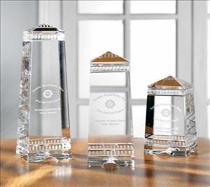 - ANEDesigns Engraved Crystal Greek Styled Obelisk Awards