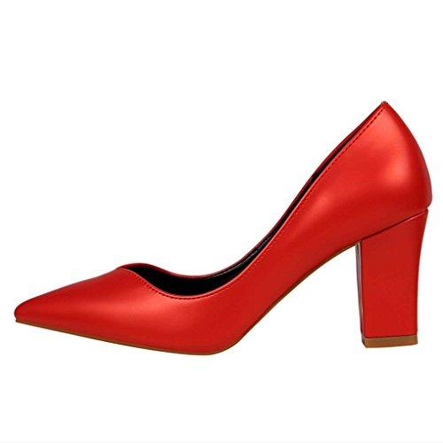 Talon Soirée sexy Rouge Chaussures Pointu Escarpins Aspect Confort Moyen Bout Femme Cuir Bloc OALEEN Job gq6fPIwa