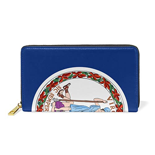 (Flag Of Virginia Genuine Leather Wallet Case Credit Card Holder Travel Purse With Zipper Pocket For Women)
