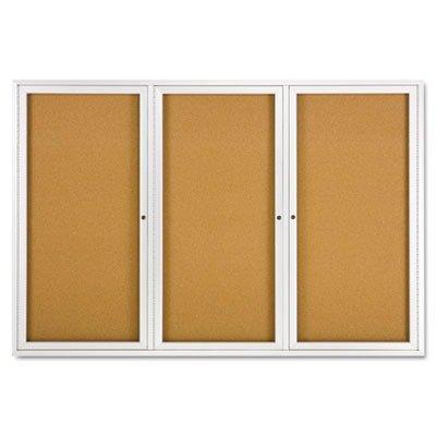Quartet Enclosed Bulletin Board, Natural Cork/Fiberboard, 72 x 48, Aluminum Frame, EA - QRT2367