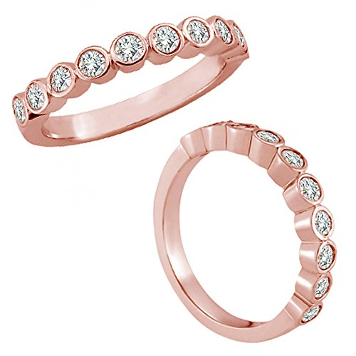0.25 Carat G-H Diamond Bezel Bubble Design Engagement Wedding Bridal Women Band 14K Rose Gold