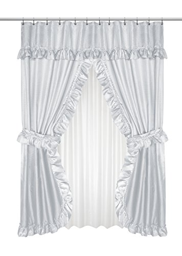 Carnation Home Fashions FSCD-L/03 Lauren Double Swag Shower Curtain, Grey