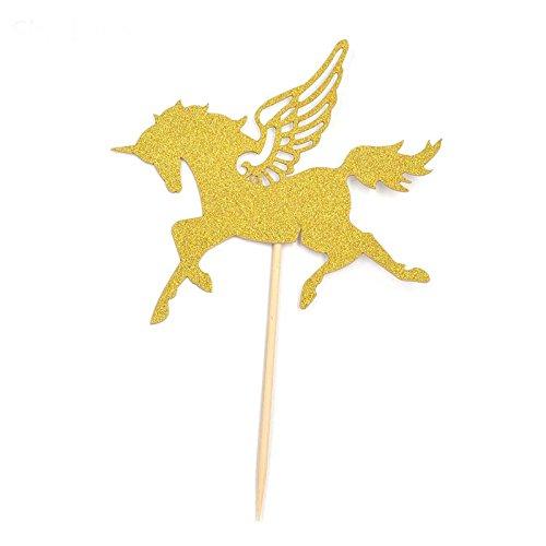 10 pcs oro caballo, para tartas Cupcake Topper decoración ...
