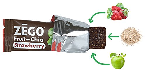 ZEGO Snacks Fruit+Chia Bars: Strawberry 12 (25g) bars/box Delicious Non GMO Vegan Gluten Free On-The-Go Snacks, Athletes, Adults, Kids, Easy to Digest, No Added Sugar, Paleo, Excellent Source Omega 3s