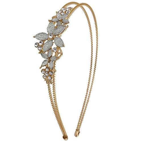 (Lux Accessories Goldtone Caviar Glitter Flower Floral Bride Bridal Hard Headband)
