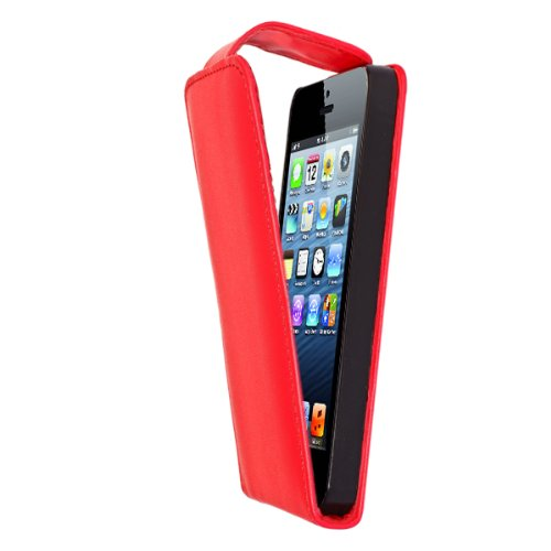 G4GADGET® Apple iPhone 5C Red Flip Wallet PU Leather Case Cover with Two Card slots For Apple iPhone 5C