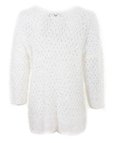 La nouvelle femmes bleu hairy knit jumper stripped top strickwaren furry sugar crisp ladies'fashion 10, 12, 14, 16