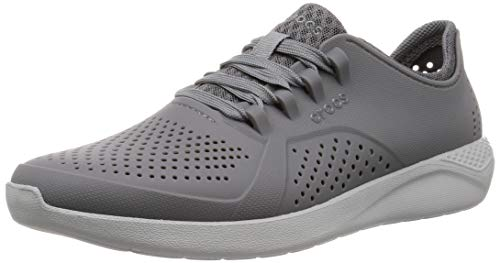 Light Charcoal - Crocs Men's Ltrdpacerm Sneaker, Charcoal/Light Grey, 4 M US