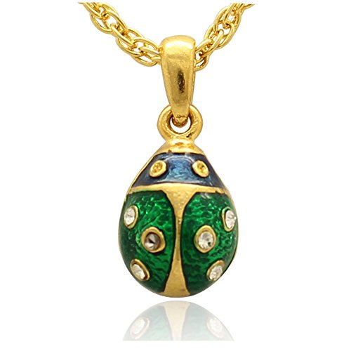 Ladybug Pendant Green (MYD Jewelry Mini Ladybug Faberge Style Easter Egg Pendant Necklace (gold green))