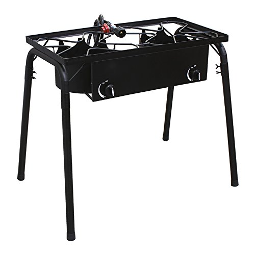 XtremepowerUS Outdoor Propane Stove high Pressure Propane Double Burner Stand Cooker W/Regulator