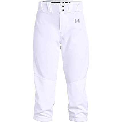 Under Armour Girls Softball Pants, White (100)Baseball Gray