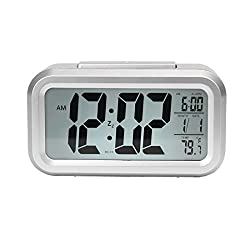 Oweisong Multi-function LCD Digital Alarm Clock With Temperature Calendar Snooze Silvery Color