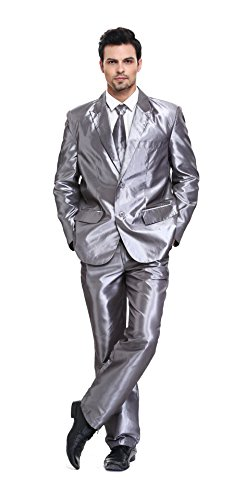 U LOOK UGLY TODAY Men's Party Suit Mens Grey Shining Solid Color Bachelor Party Suit-Large]()