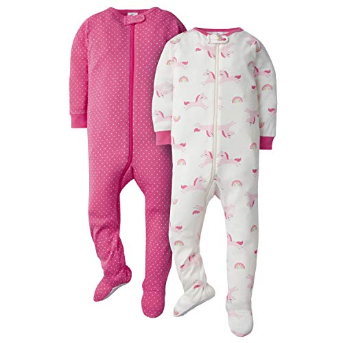 GERBER Baby Girls' 2-Pack Footed Unionsuit, Unicorn, 3 Months