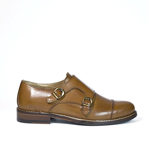 Madò Scarpe Artigianali Uomo Doppia Fibbia di Colore Cuoio Calzature Italiane 100% Vera Pelle Shoes Double Monkstrap Made in Italy