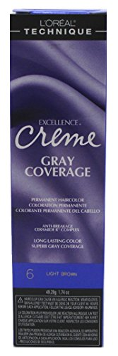 L'oreal Excellence Creme Permanent Hair Color, Light Brown No.6, 1.74 Ounce (Best Gray Hair Coverage)