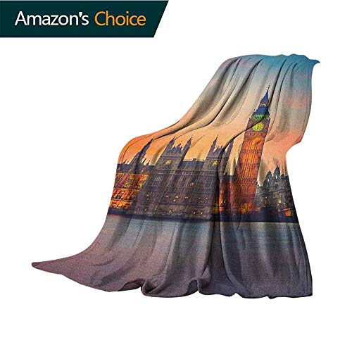 - London Personalized Baby Blanket,Fairy View of Big Ben and Houses of Parliament at Dusk in London British Urban Town Weighted for Adults Kids,Better Deeper Sleep,30