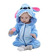 Idgirl Unisex-baby Winter Flannel Romper Blue-star Outfits Suit (90cm (4-12 months), Blue)