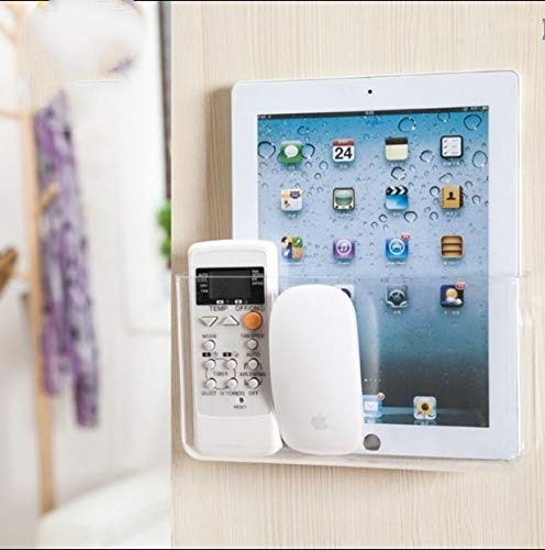 APSOONSELL Wall Mount Storage Organizer Box for Phone Remote Control Holder Clear L