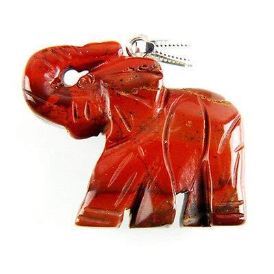 FidgetFidget Charming Carved Elephant Natural Red Jasper Pendant Bead 34x43x9mm L-DX11