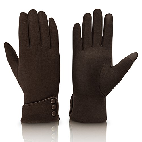 Fashion Touch Screen Winter Gloves Warm Polar Fleece For Women,Brown, ()