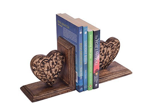 Amazon Fathers Day Gifts Icrafts Decorative Book Ends Rack Display Stand Holder Organizer Hand Carved Wooden Heart Shaped Bookend Pair Bookshelf
