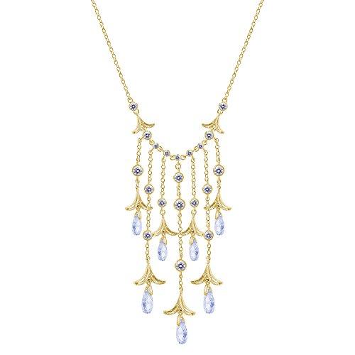 Nicole Miller Briolette Fringe Cascade Gold/Clear Pendant Necklace