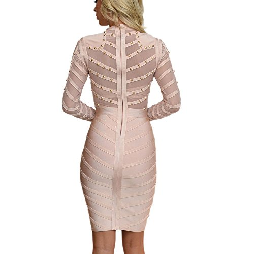 Knee Beige Dress Length Long Rayon Bandage HLBandage Sleeve Mesh Beaded RwOxv66q