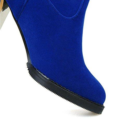 H HQuattro stagioni femminile tacco grosso strofinare scarpe scamosciate (nero. Rosso. Blu) stivali femmina ad alto fusto , red , 38