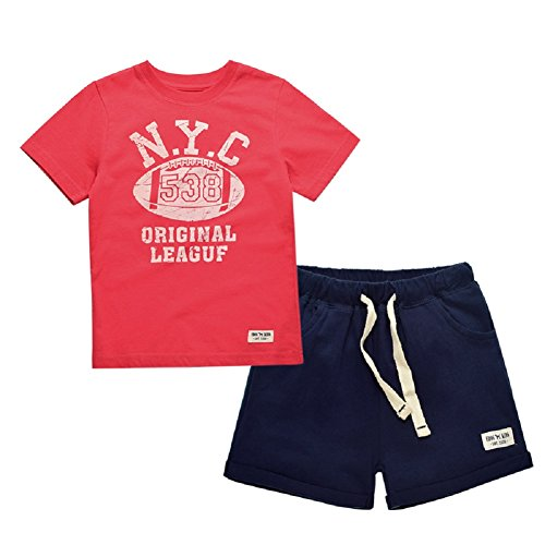 Yilaku Little Boy Summer Clothes Cotton T-Shirts and Shorts Set NYC Print (Red/Navy, 2-3 - Nyc Kids Stores